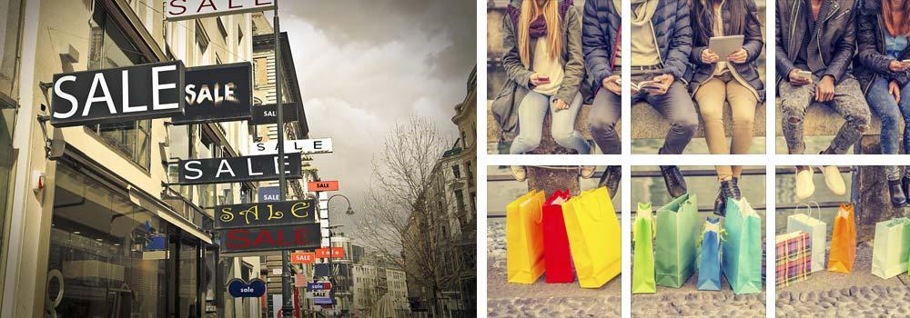 עורכת דין לצרכנות ומשפט מסחרי - שקיות קניות צבעוניות ושלטי מבצעים